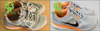 giày trước và sau khi giặt