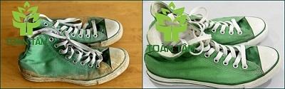 giặt giày thể thao - trước và sau khi giặt